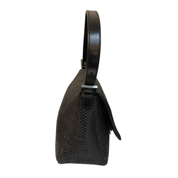 Black braided leather Bag-4
