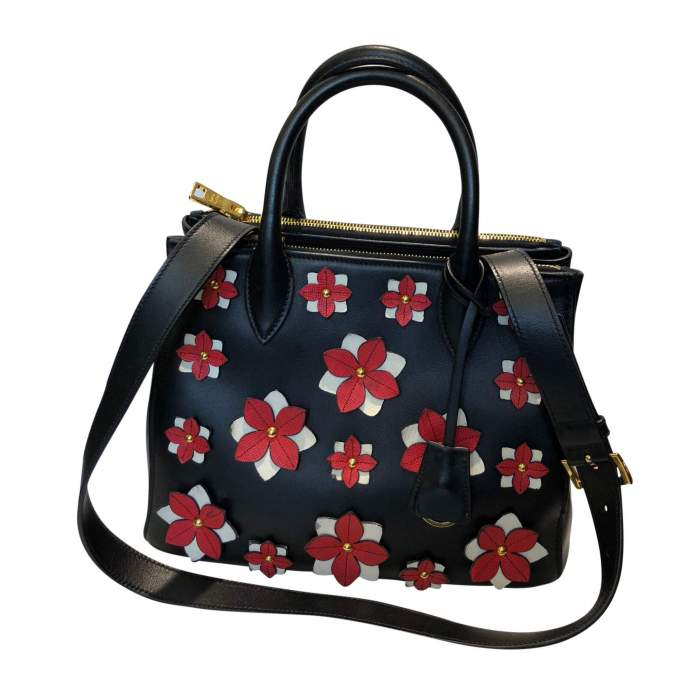 Flowers black leather Bag-2