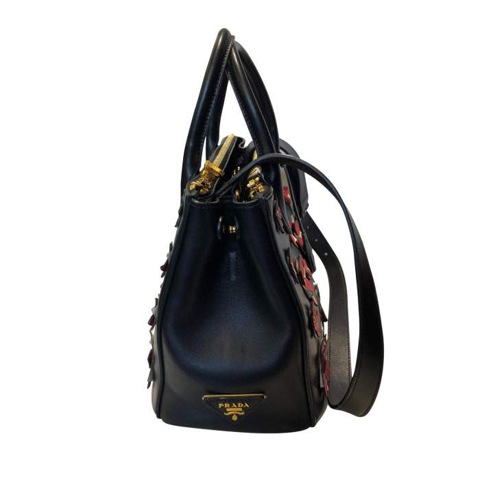 Flowers black leather Bag-4