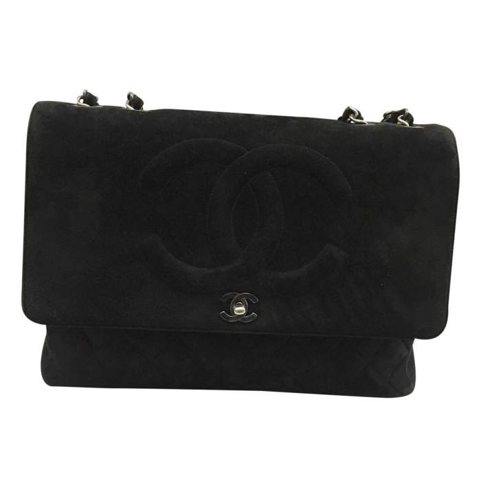Classic jumbo bag in black Suede-0