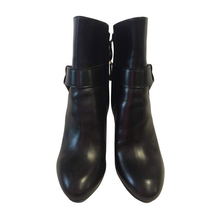 Platform black leather Boots-2