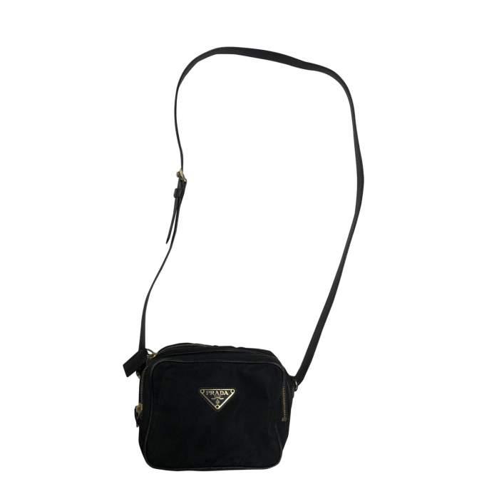 Vintage Black Nylon Crossbody Pouch-0