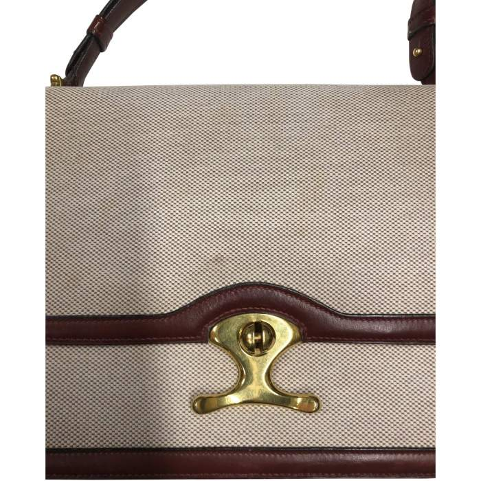 Vintage Linen Bag with Leather Border-6