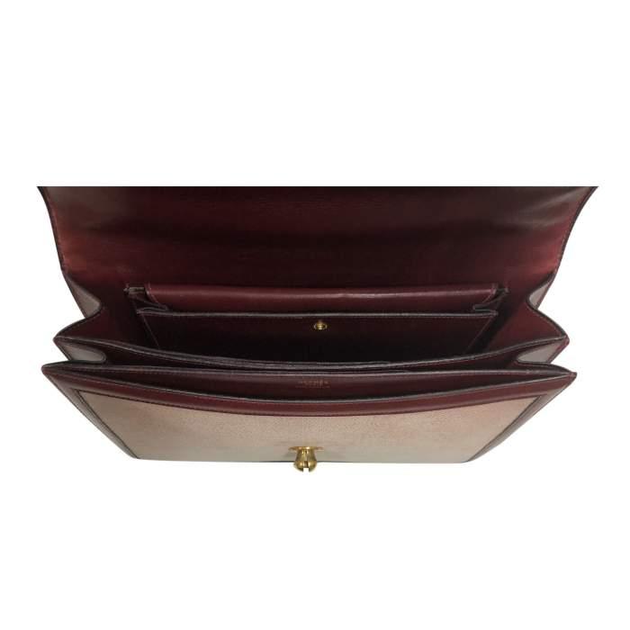 Vintage Linen Bag with Leather Border-10