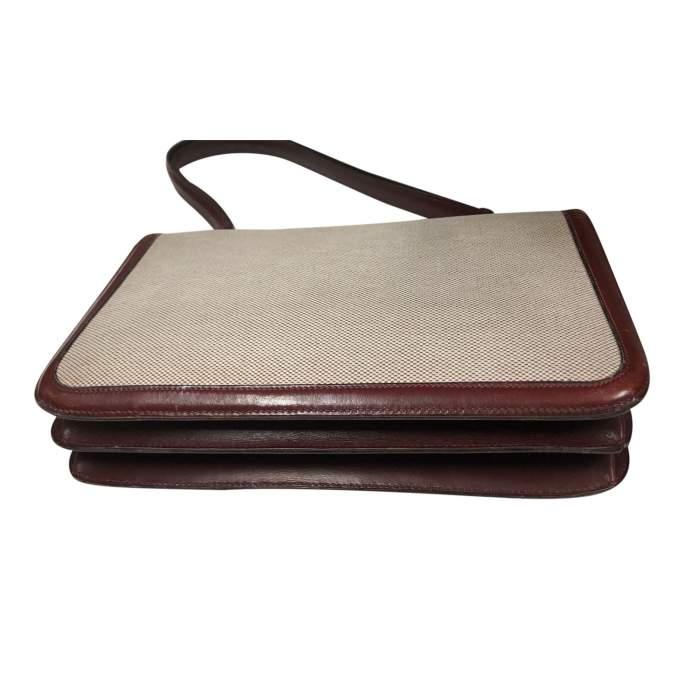 Vintage Linen Bag with Leather Border-4