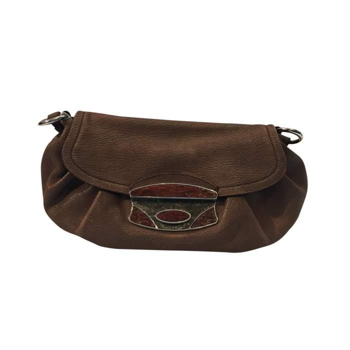 Pink/beige leather Handbag-0