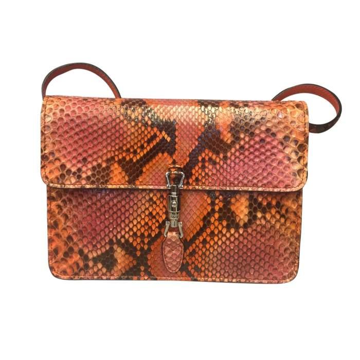 Orange python shoulder Bag-0