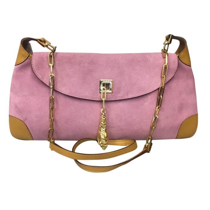 Pink suede shoulder Bag-0