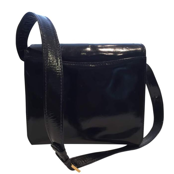 Vintage 1970s black patent leather Bag-2