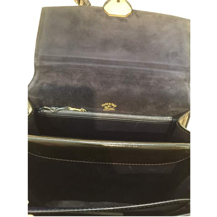 Vintage 1970s black patent leather Bag-8