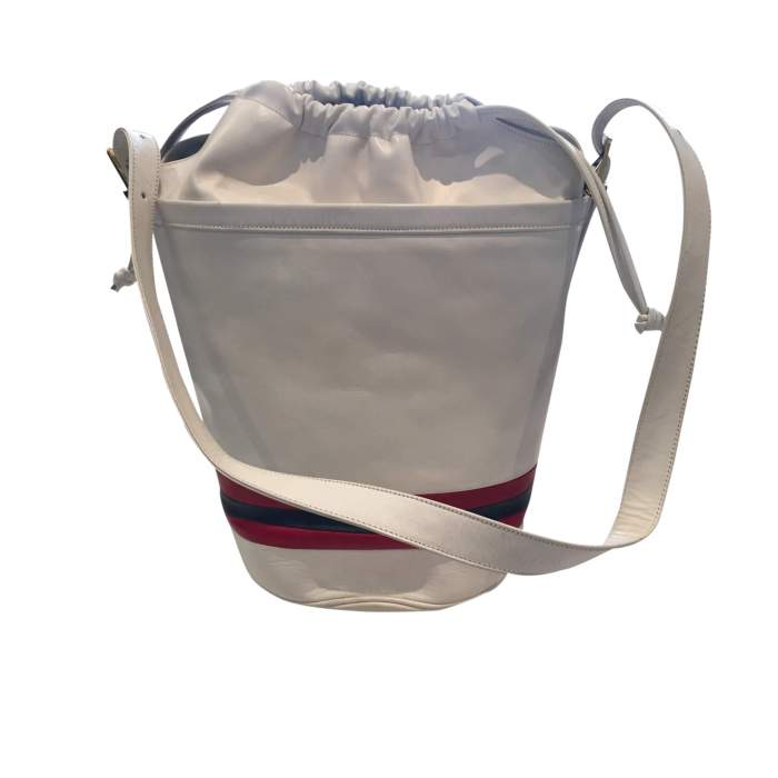 Vintage 80s white leather shoulder Bag-2