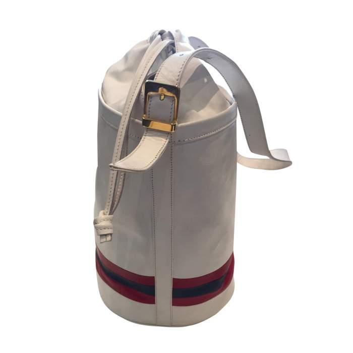 Vintage 80s white leather shoulder Bag-4