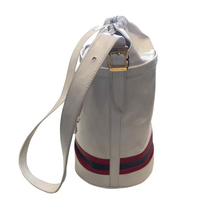 Vintage 80s white leather shoulder Bag-6