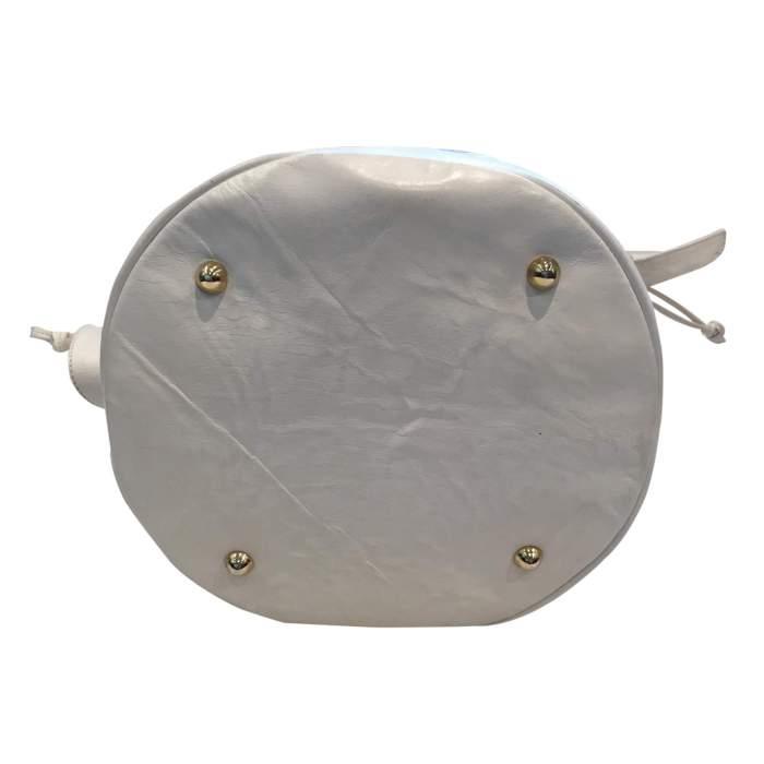 Vintage 80s white leather shoulder Bag-8