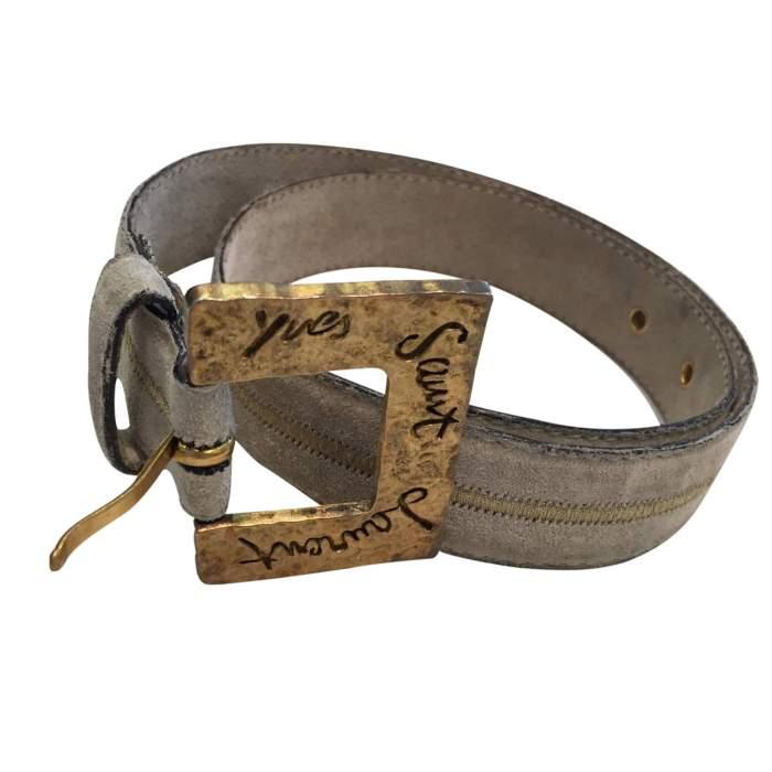 Vintage 1990 gray suede Belt-2