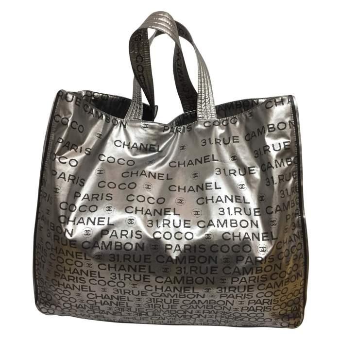 Silver vinyl tote Bag-0