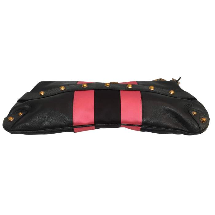 Black and  satin leather Bag-4
