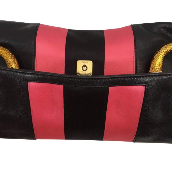 Black and  satin leather Bag-6