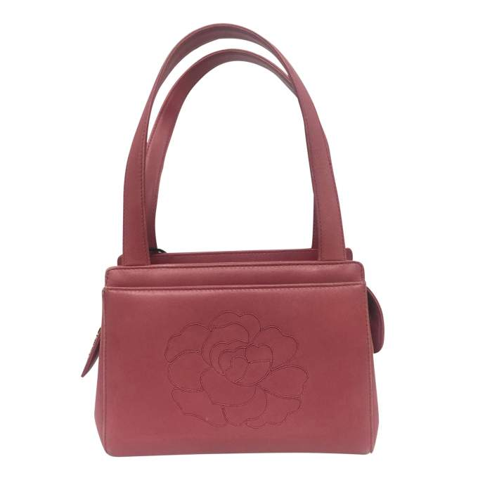 Small camellia embossed rosewood leather Bag-0