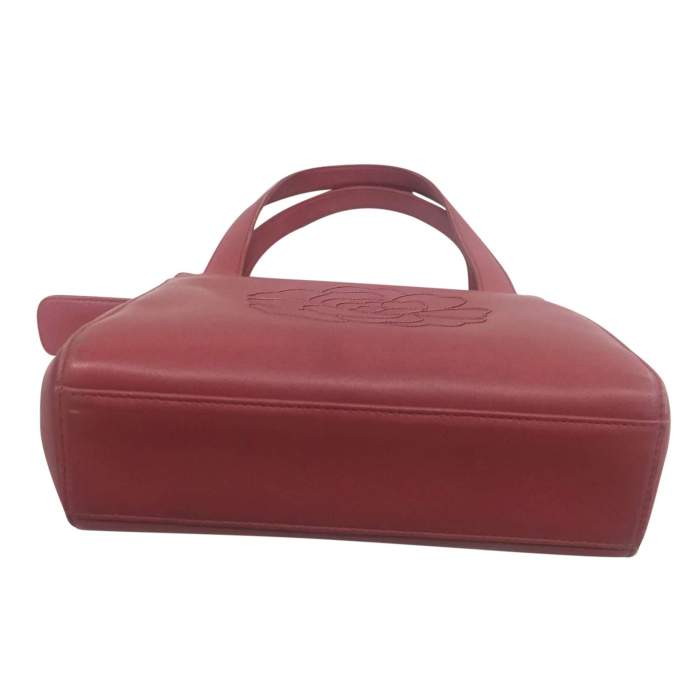 Small camellia embossed rosewood leather Bag-8