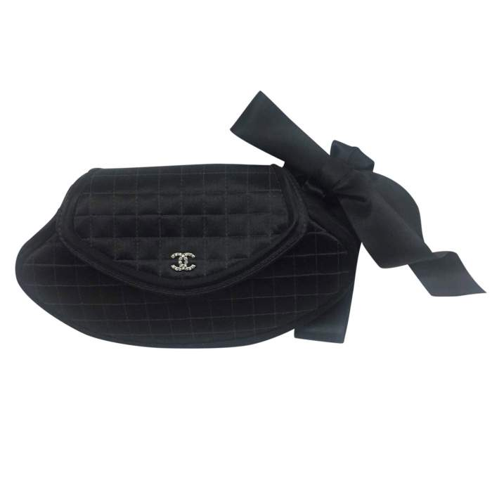 Satin black quilted Clutch-0