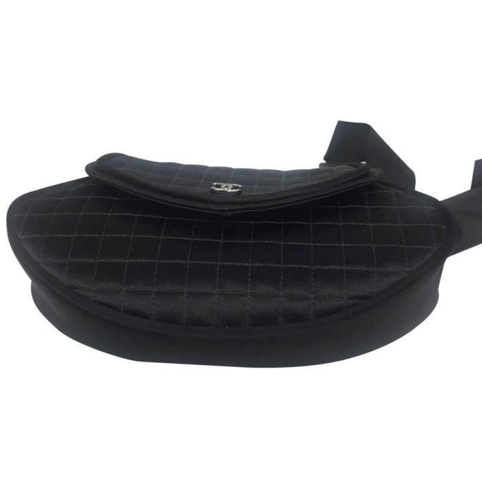 Satin black quilted Clutch-6