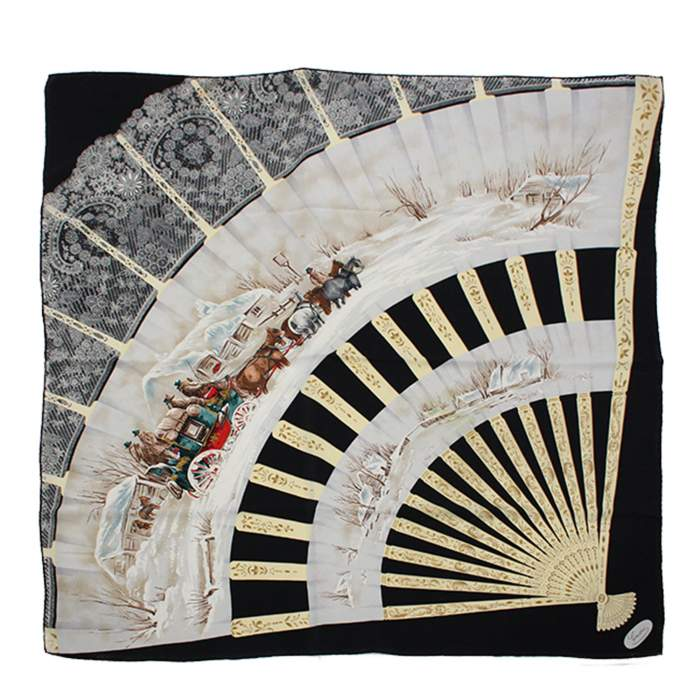 Black fan silk Scarf-0