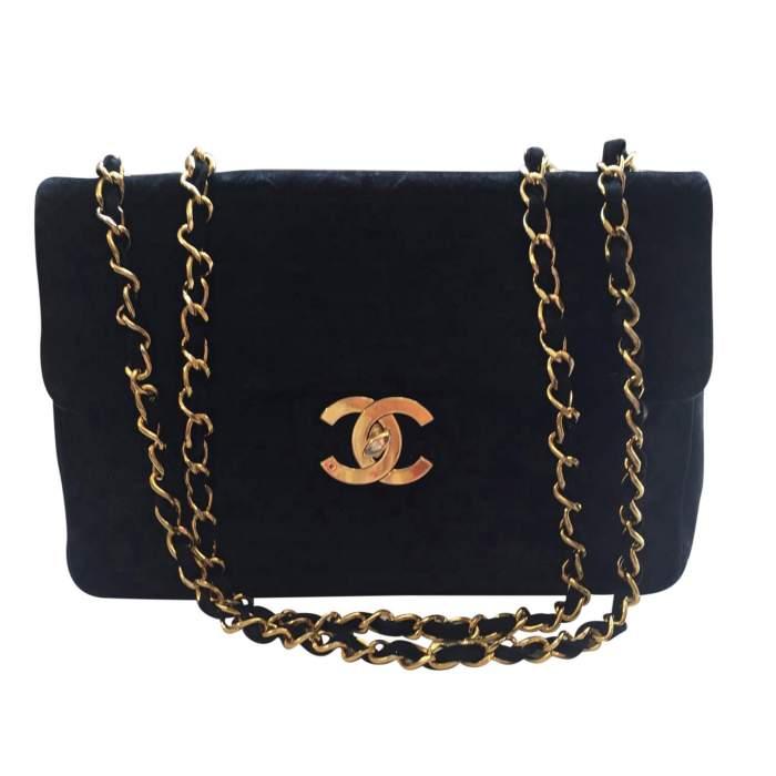 Vintage black suede jumbo Handbag -0