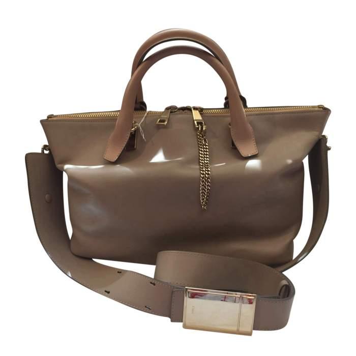 Beige and light gray  leather Handbag -0
