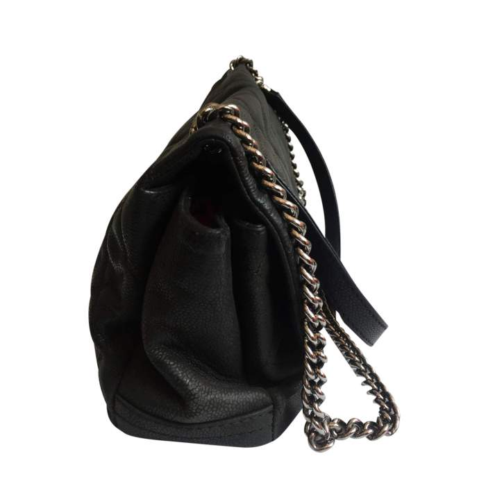 Black grained leather Bag-4