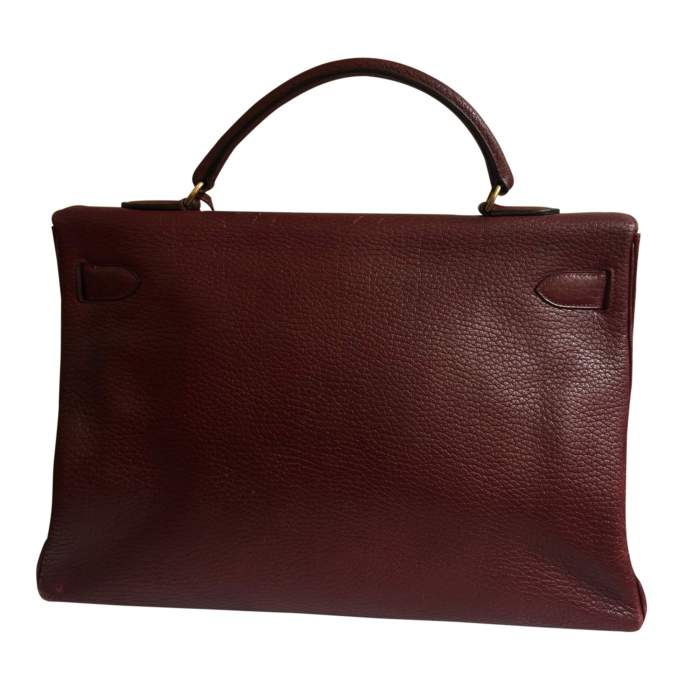 Burgundy grained leather Kelly Bag-2