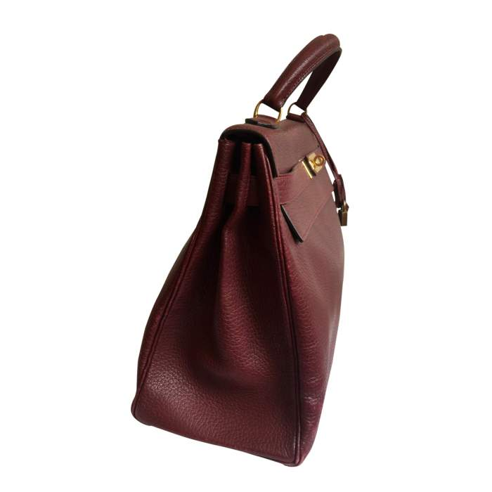 Burgundy grained leather Kelly Bag-4