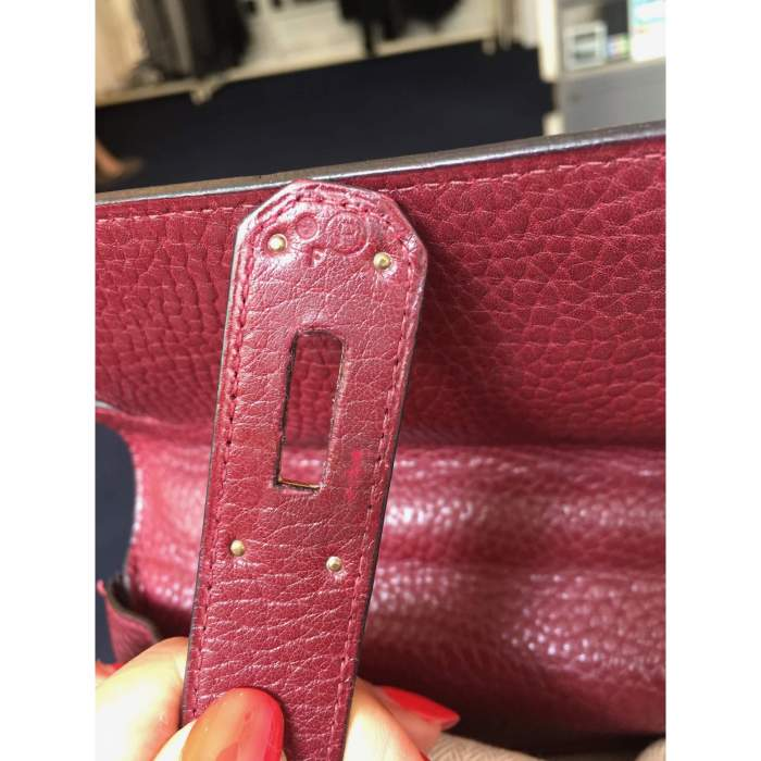 Burgundy grained leather Kelly Bag-8