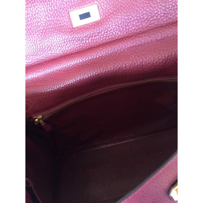 Burgundy grained leather Kelly Bag-10