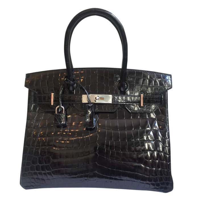 Black crocodile Birkin-0