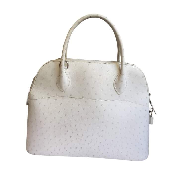 Bolide White Ostrich Handbag-2