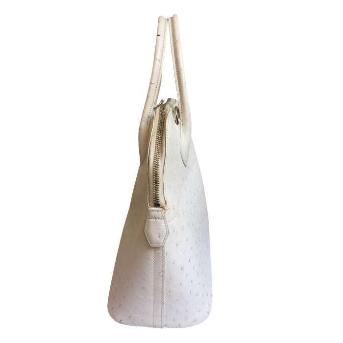Bolide White Ostrich Handbag-4