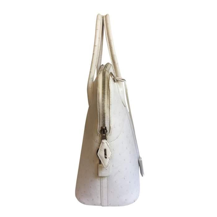 Bolide White Ostrich Handbag-6