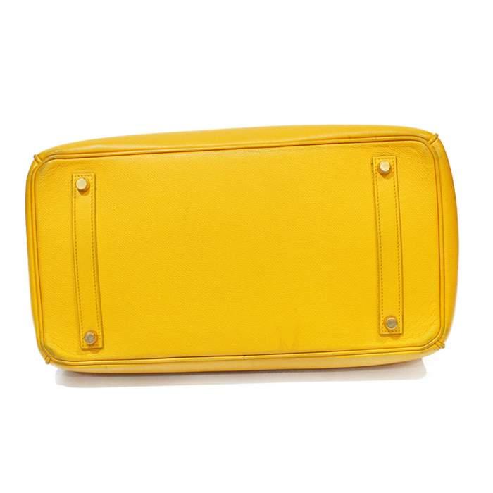 Yellow Birkin 35 leather Bag-4