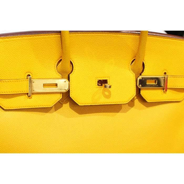 Yellow Birkin 35 leather Bag-8