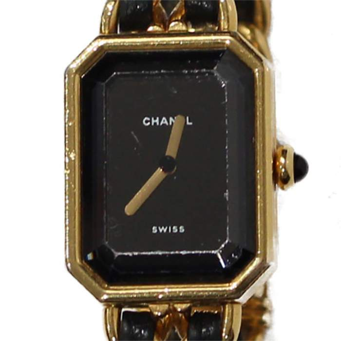 Gold and black leather Watch-0