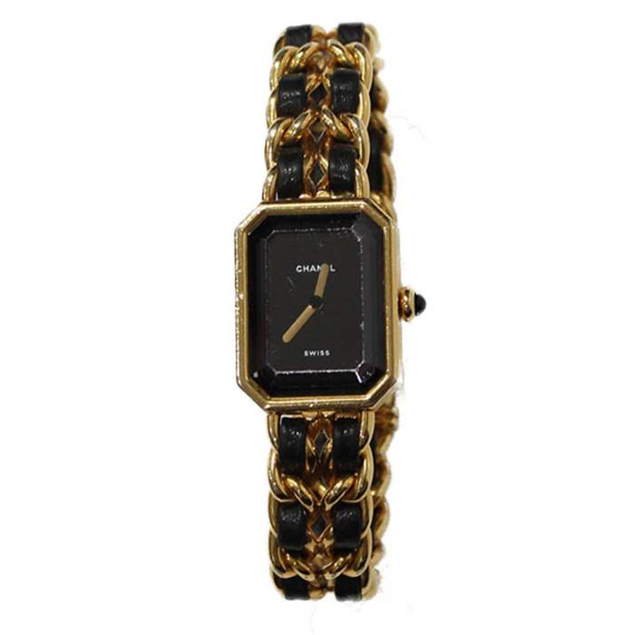 Gold and black leather Watch-2