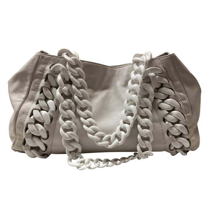 Large white leather tote Bag-2