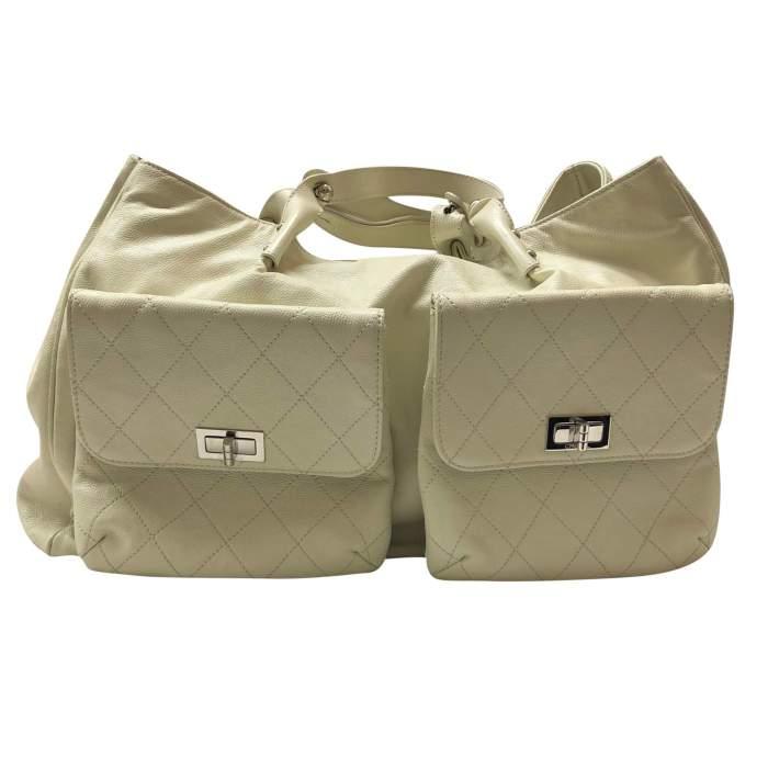 Cream leather tote Bag -0