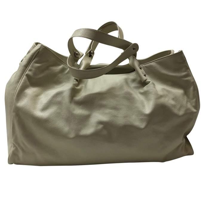 Cream leather tote Bag -2