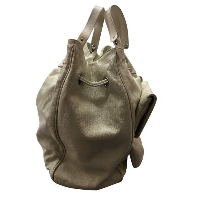 Cream leather tote Bag -6