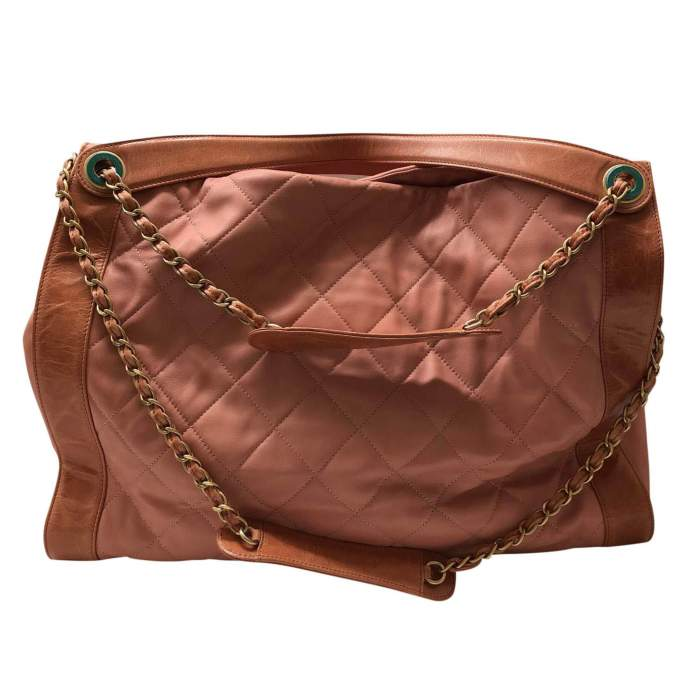 Salmon large leather tote Bag-2