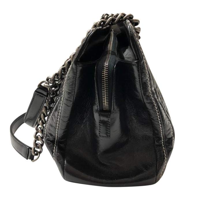 Black leather stitched Bolster Bag-4