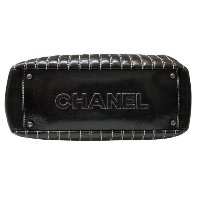 Black leather stitched Bolster Bag-6