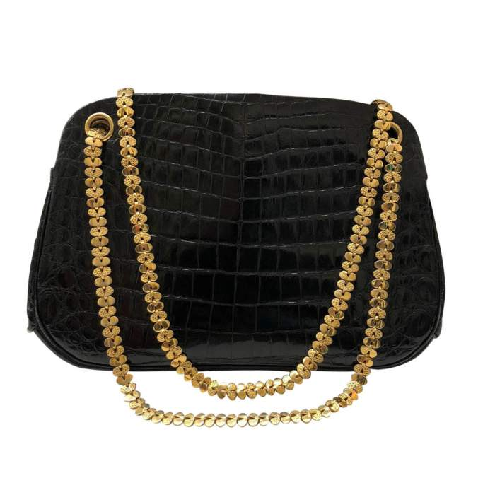 Small black crocodile Bag-0